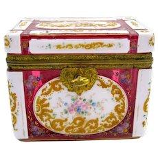 RARE Antique Bohemian Cranberry Overlay Glass Enamelled Casket Box