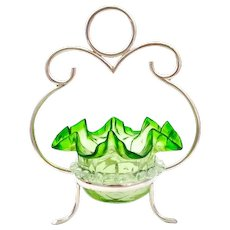 Antique Victorian Green Glass Bonbon Dish with EPNS Silver-Plated Stand.