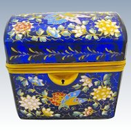 Antique MOSER Bohemian Cobalt Blue Domed Casket Box Enamelled with Butterflies