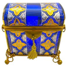 Antique MOSER Bohemian Cobalt Blue Domed Casket Box Enamelled with Double Handles and 4 Ball Feet.