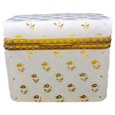 Antique French White Opaline Glass Casket Box with Gilded Flowers Throughout.