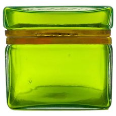 Antique Murano Clear Green Glass Casket Box .