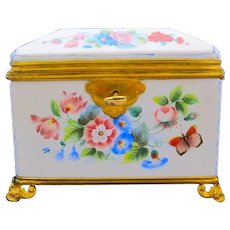 Antique French BACCARAT Opaline Glass Casket Box Decorated with Hand Painted Flowers, Butterflies and Strawberries.