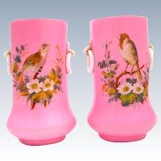 Pair of Antique Pink Opaline Vases with Double Loop Handles.