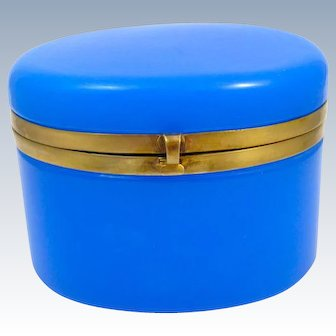 Antique French Blue Opaline Glass Oval Casket Box with Smooth Dore Bronze Mount and S-Shaped Clasp.
