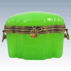 Very Pretty Antique French Green Opaline Glass Casket Box with Leaf Clasp