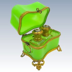 Antique Baccarat French Green Opaline Glass 'Vert Feuille' Perfume Casket .