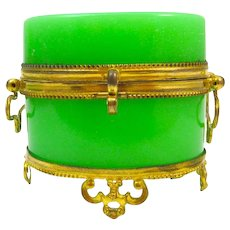 Antique French Miniature Oval Green Opaline Casket with Double Loop Handles and Ornate Dore Bronze Feet.