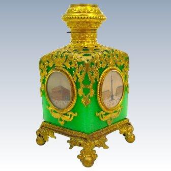 Fine Antique Palais Royal Green Opaline Glass Perfume Bottle