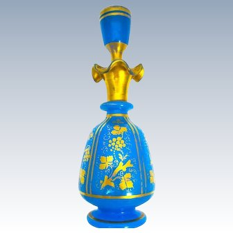 Large Antique Baccarat Blue Opaline Glass Perfume Bottle with Undulating Rim.