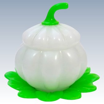 Antique French 19th Century Green and White Opaline 'Pumpkin' Shaped Casket Box