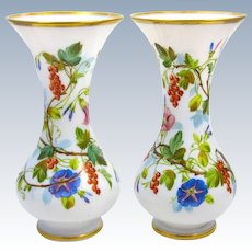 Pair of Antique French Baccarat Opaline Vases Decorated with Hand Painted Flowers.
