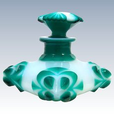 RARE Charles X Baccarat Green and White Overlay Opaline Glass 'Cushion Shaped' Perfume Bottle.
