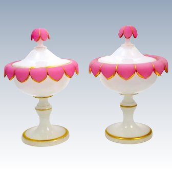 Pair of Antique French Pink and White Opaline Glass Vases and Covers.