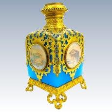 Large Antique Palais Royal Blue Opaline Glass Perfume Bottle