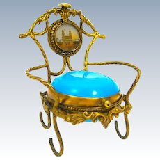 Antique French Palais Royal Blue Opaline Glass Ring and Jewellery Holder.