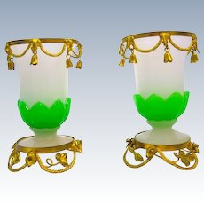 Antique Pair of French Palais Royal Green and White Opaline Glass Vases.
