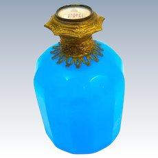 Antique Palais Royal BlueOpaline Glass Perfume Bottle with a Miniature of Sacre Coeur, Paris