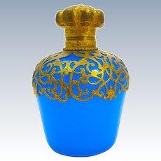 Antique Palais Royal Blue Opaline Glass Perfume Bottle and Dore Bronze Stopper.