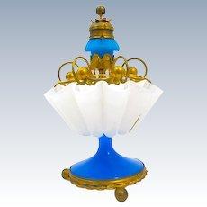 RARE Antique Palais Royal Blue and White Opaline Glass Cigar Holder with Original Blue Opaline Glass Cigar Lighter.