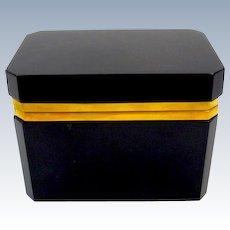 Antique Black Opaline Glass Rectangular Casket Box with Smooth Dore Bronze Mounts.