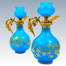 Pair of Antique French Blue Opaline Glass Perfume Bottles.