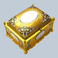 A Superb MONUMENTAL Rare Antique French Dore Bronze Casket with Enamelled Panels by Tahan.