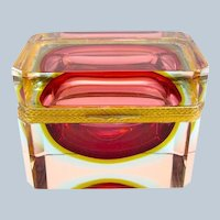 Vintage Murano Sommerso Cranberry Glass Casket and Dore Bronze Mounts.