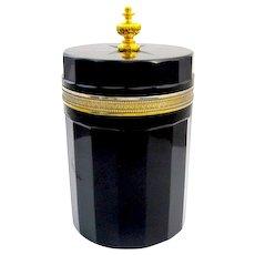 LARGE Elegant Antique Black Opaline Glass Casket Box