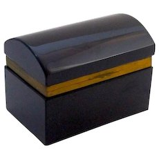 Rare Antique Black Opaline Glass Rectangular Casket Box with Domed Lid