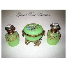 French 19th Century Green Opaline Perfume set