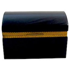 Vintage Black Opaline Glass Rectangular Casket Box with Domed Lid