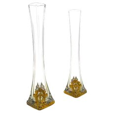 Pair of Elegant Antique Empire Crystal and Dore Bronze Vases Depicting Cherubs and Classical Motifs