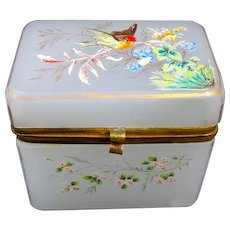 Pretty Antique Miniature White Opaline Glass Casket Box with Enamelled Bird.