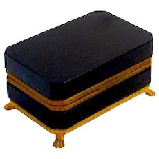 Antique Black Opaline Glass Casket Box with Dore Bronze Mounts.