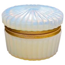 Antique French Oval Casket in 'Bulle de Savon' Opaline Glass.