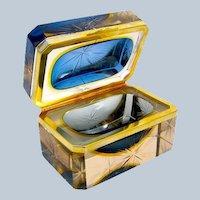 Vintage Murano Sommerso BlueGlass Casket and Dore Bronze Mounts with Original Label.