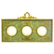 Antique Empire Triple Dore Bronze and Silk Frame with Fine Classical Motifs