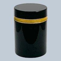 Large Antique Murano Black Opaline Glass Casket Box with Dore Bronze Mounts.