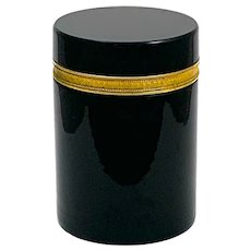 Large Elegant Antique Murano Black Opaline Glass Casket Box with Dore Bronze Mounts.