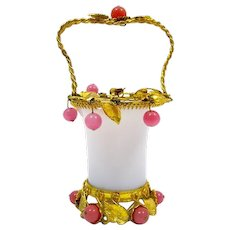 Antique White Opaline Glass Basket with Pink Opaline Glass Baubles .