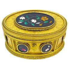 Rare Antique Signed Tahan Paris, Pietra Dura Jewellery Casket Box and Original Key.