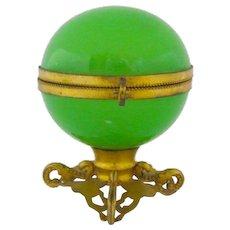 Antique French Green Opaline Glass Globe Shaped Casket Box .