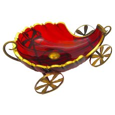 XL Large Antique French Ruby Red Cut Crystal Shell-Shaped Carriage with Dore Bronze Mounts and Wheels.