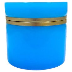Large Antique French Blue Opaline Glass Cylindrical Casket with Smooth Dore Bronze Mounts.