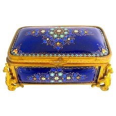 A Superb Large Palais Royal Antique French 'Bombe' Jewel Casket with Enamelled Panels by Tahan.