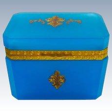 Antique French Rectangular Blue Opaline Fleur de Lys Casket Box