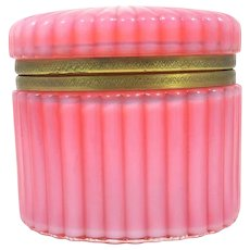 RARE Antique French Pink Opaline Glass Oval Casket. Stunning Colour !