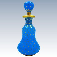 Antique Baccarat Blue Opaline Glass Perfume Bottle with Gilded Stars.