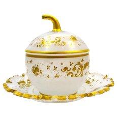 Antique French White Opaline Glass 'Pumpkin' Shaped Casket Box